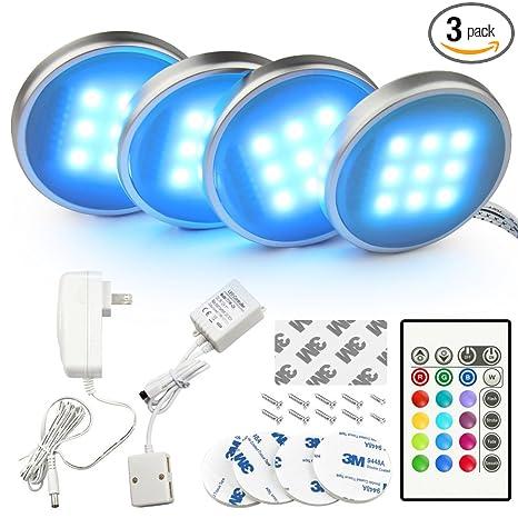 Superbe BASON RGB LED Under Cabinet Lighting Closet Puck Lights Color Changing For  Kitchen Shelf Decoration,