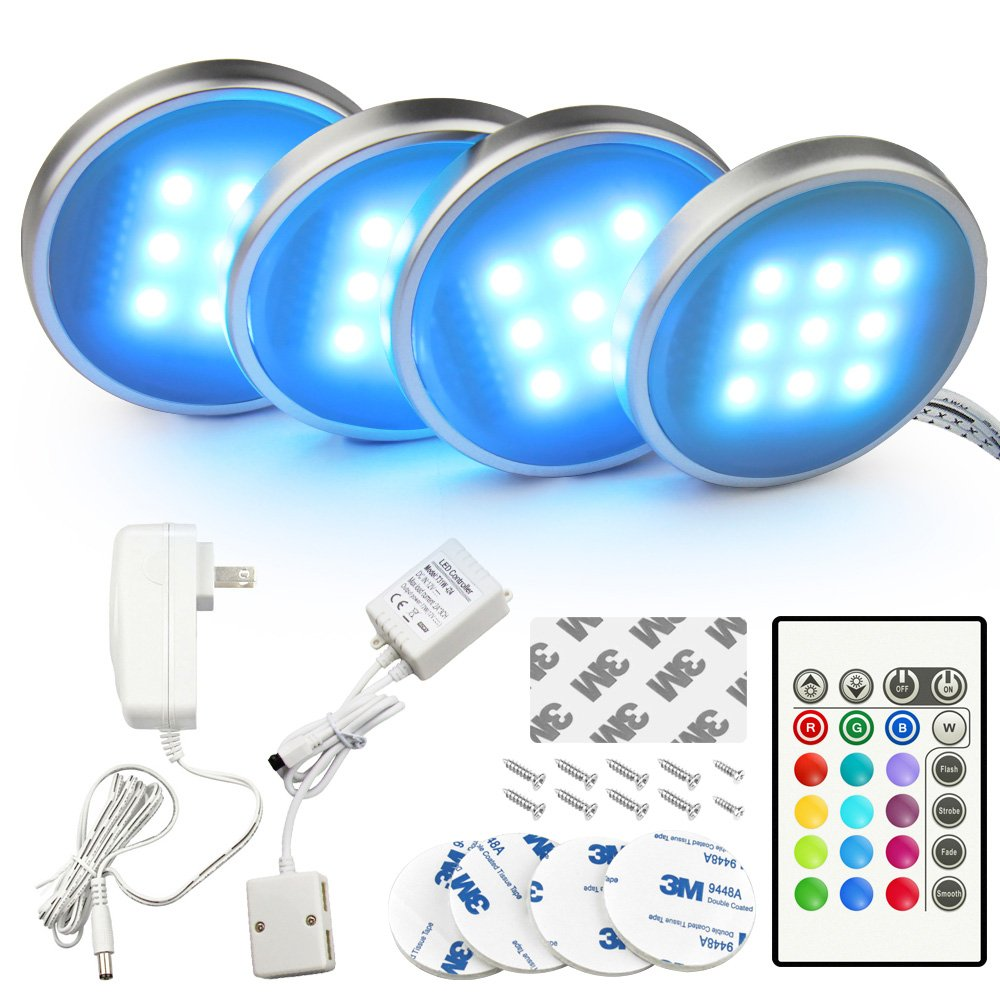 BASON RGB LED Under Cabinet Lighting Closet Puck lights Color Changing for Kitchen Shelf Decoration, 20 Colors, Dimmable Remote Control, 7.5 Watts, 4-PACK, UL listed, 4P58862H