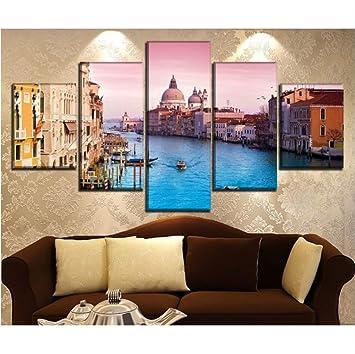 Cmhai 5 Pièces Canal Gondole Italie Venise Peinture Moderne