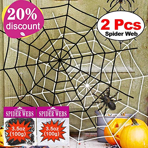 (Halloween Spider Web 2Pack 11 Feet Black White Giant Stretch Spider Web Set Round Fake Spider Web Creepy Decor Outdoor Indoor Yard Haunted House Halloween Decoration Party Favor Durable Cobweb)