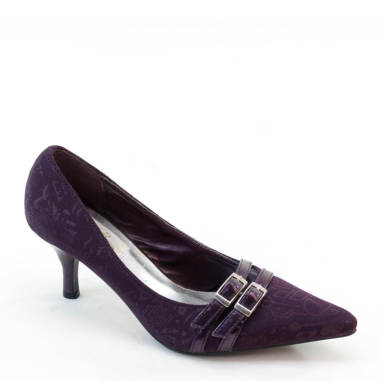 New Brieten Women's Buckles Pointy Toe Middle Heel Dress Pumps