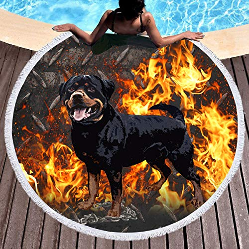 Sleepwish Rottweiler Flames Beach Towel Cool Animal Beach Roundie Kids Adults Sunscreen Shawl Wrap Blanket Tassels Water Absorbent (Fierce Dog, 60'') by Sleepwish