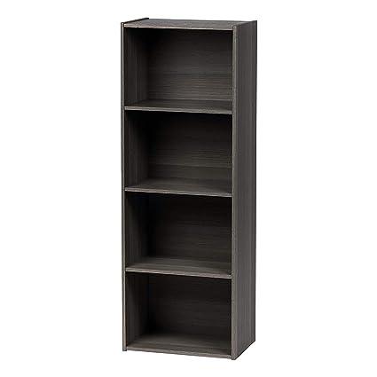 941cae385f9 jnwd 4 Shelf Bookcase Tall Open Wood Standing Floor Decorative Storage  Bookshelf Modern Learning Vertically Horizontally