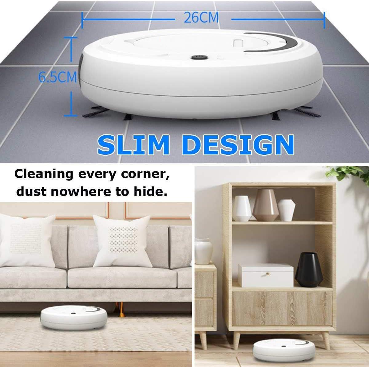 LSXUE Ricaricabile Intelligente casa Automatica Clean spazzamento Robot Aspirapolvere Piano Aspirapolvere Dirt dei Capelli della Polvere di Pulizia Sweeper (Color : Gray) Black