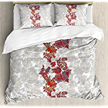 Floral Duvet Cover Set King Size by Ambesonne, Romantic Boho Style Narcissus Magic Magnolia Rose Vibrant Pattern Print, Decorative 3 Piece Bedding Set with 2 Pillow Shams, Black Orange Red Grey