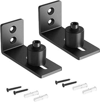 SMARTSTANDARD - Rodillo guía de suelo ajustable para puerta corrediza de granero (2 unidades), color negro: Amazon.es: Bricolaje y herramientas