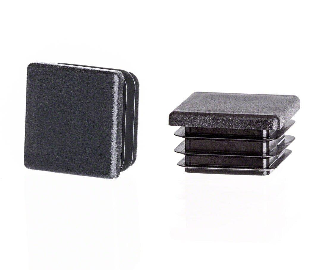 Square end Cap 20x20 mm 0,79 x 0,79 inch 10 pcs Black Plastic Plug caps