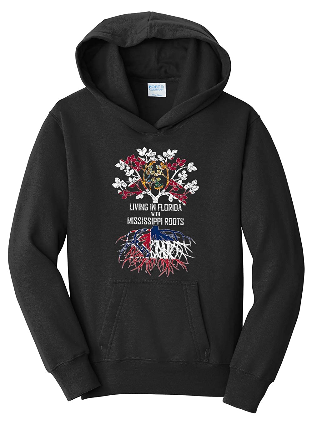 Tenacitee Girls Living in Florida with Mississippi Roots Hooded Sweatshirt