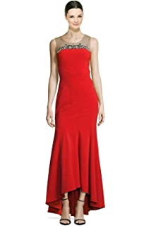 e64a27edefecd4 Marchesa Notte Contour Ponte Embellished Yoke Sleeveless Evening Gown Dress  Red