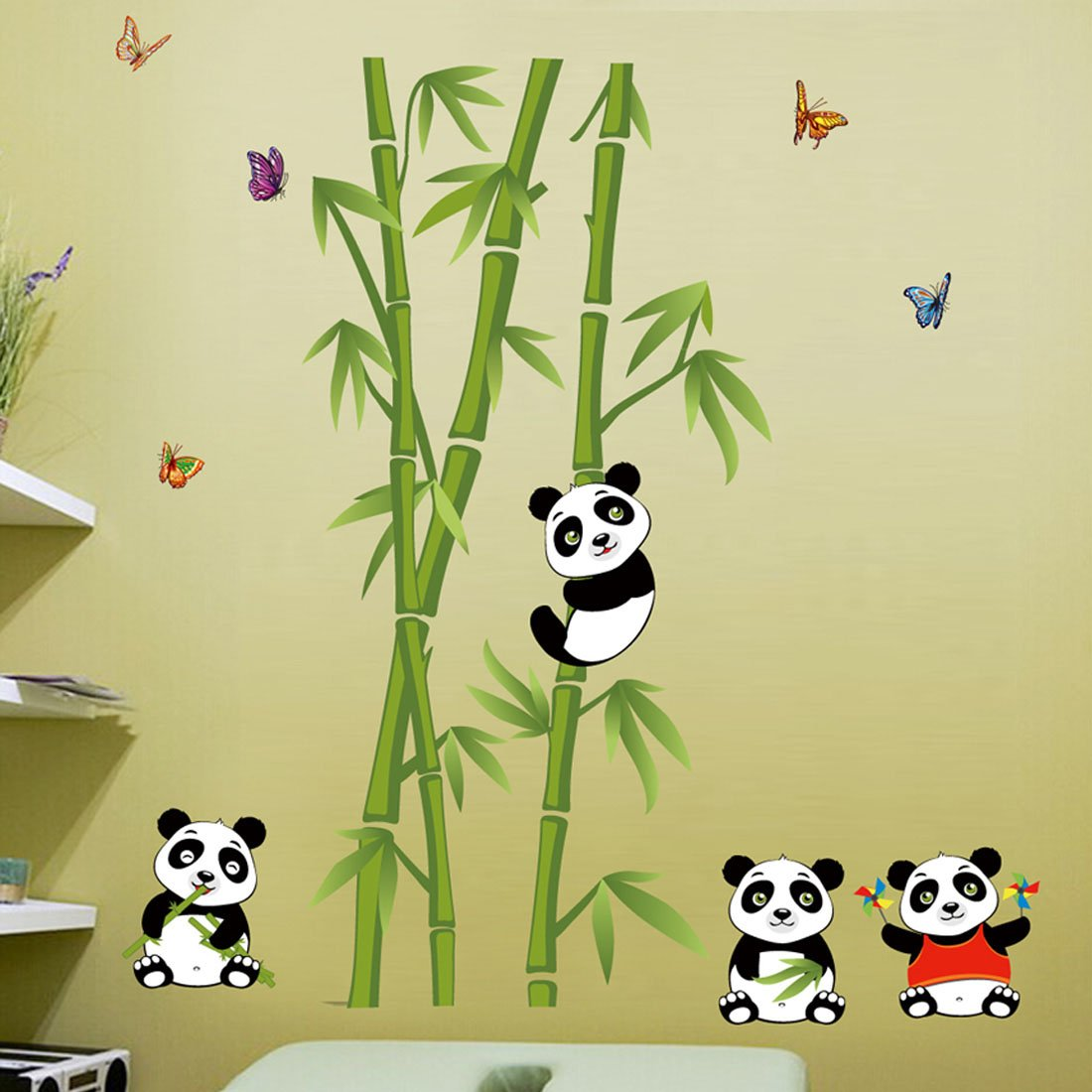 Amazon.com: Wall Decal Lovely Pandas Eating Bamboo Home Sticker ...