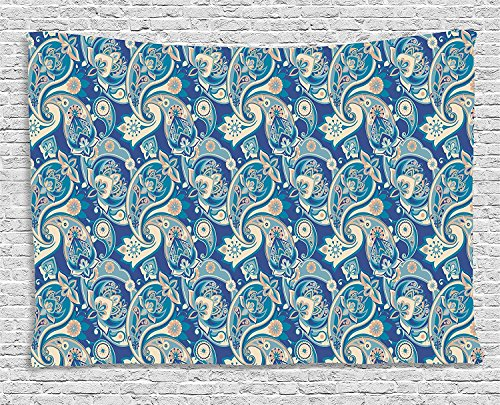 Supersoft Fleece Throw Blanket Paisley Authentic Asian Inspired Floral Persian Fashion Boho Art Illustration Print Teal Navy and Tan