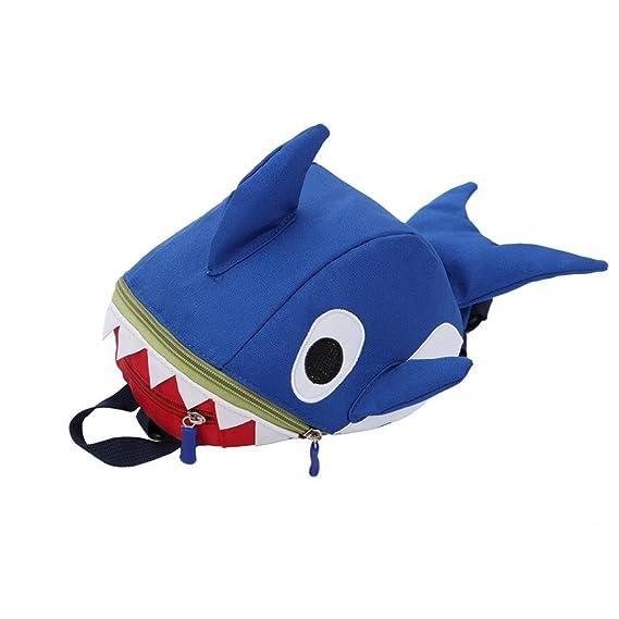 Keepwin Baby Toddlers Cute 3D Cartoon Shark Backpack Nursery Kindergarten Book Bag Mini Travel Bag Gifts for Boys Girls Blue