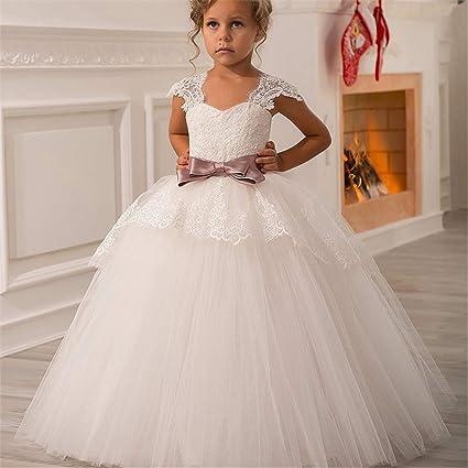 Maybesky Vestido para el niño Fiesta de cumpleaños Encaje Correa para el Hombro Chica Pettiskirt Niños