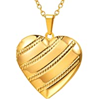 U7 Heart Shape Locket Pendant Necklace, with Rose/Dot/Flower/Diagonal Stripe/Heart Pattern, Could Customized, Gold/Platinum/Rose Gold Plated, Romantic Love, Photo Frame Memory, Vintage Women Jewelry