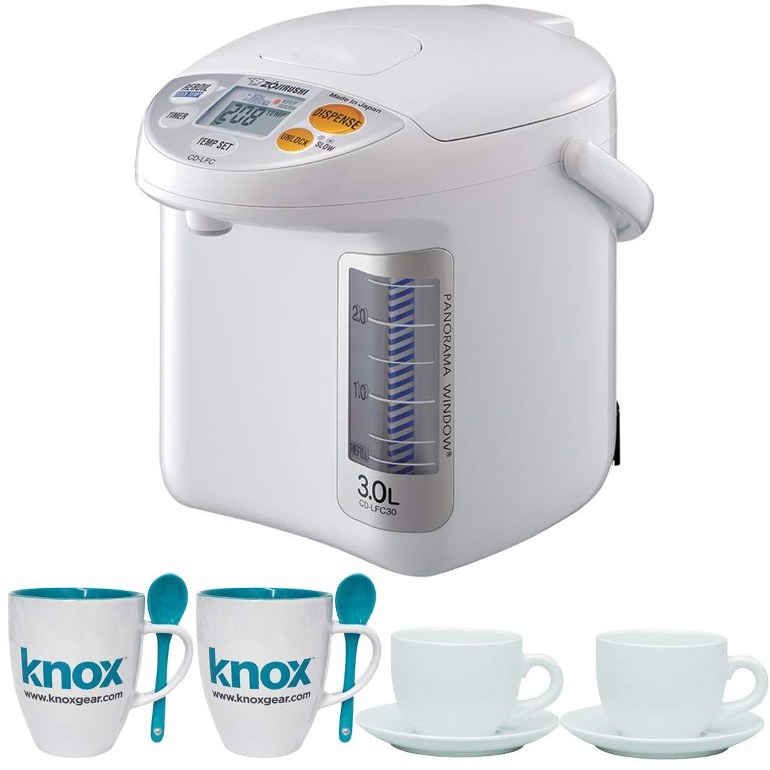 Zojirushi CD-LFC30 Panorama Window Micom Water Boiler and Warmer, 101 oz/3.0 L, White Includes 2 Espresso Cups and 2 Mugs Bundle by Zojirushi