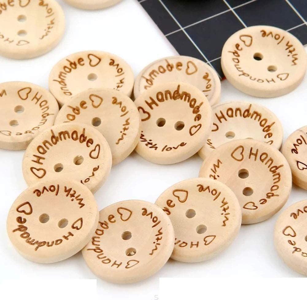 20pcs 2-Hole Wooden Buttons Printed Flat Round Button Sewing Craft Garment Fits