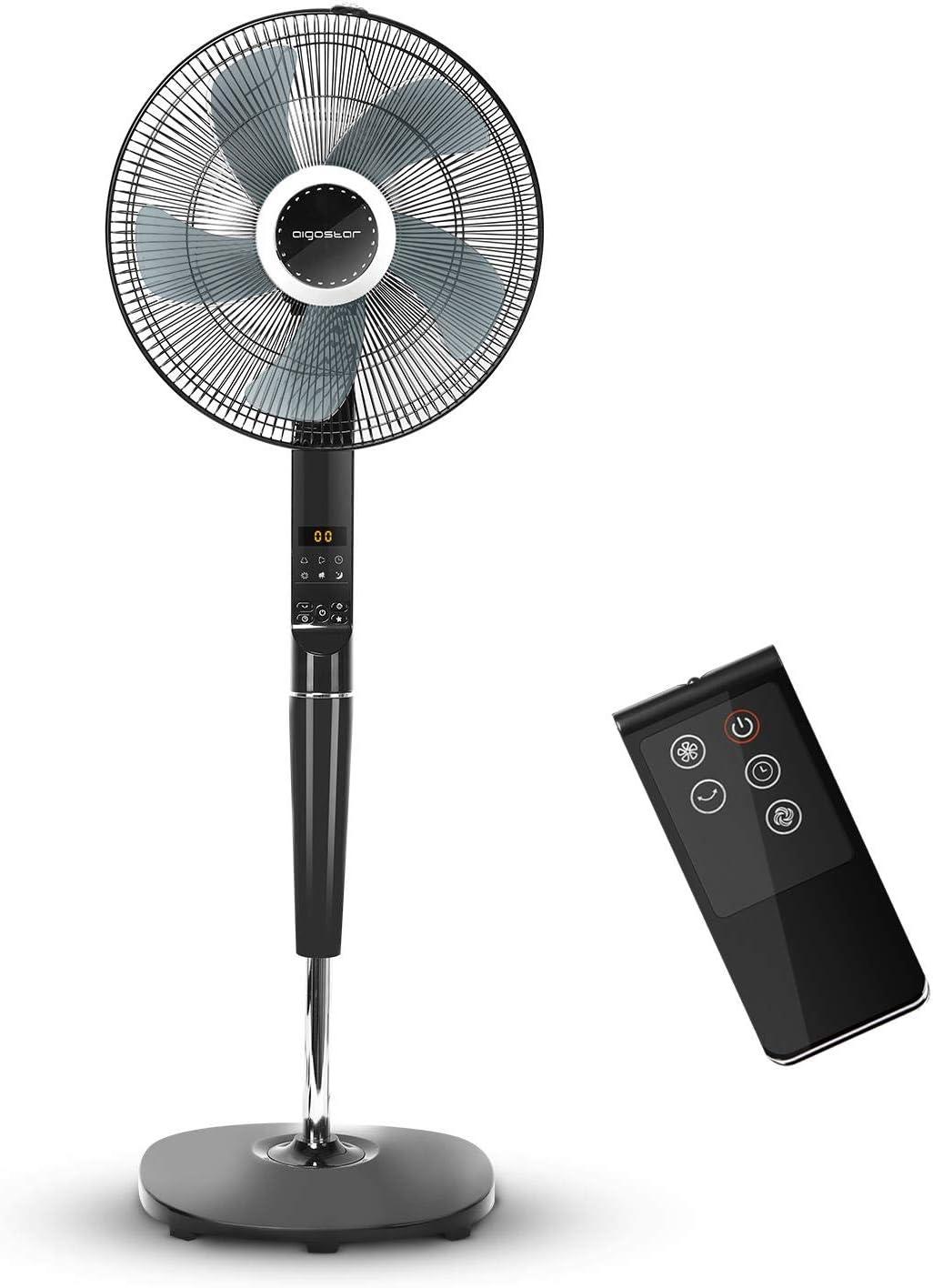 Aigostar Hansa 33JTR - Ventilador de pie oscilante con mando a distancia, 55W, 3 modos y 6 velocidades, altura max 1,44m. Temporizador de encendido y apagado, pantalla y control LED. Diseño exclusivo.