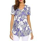 Amlaiworld Women Plus Size Shirt Fashion Short Sleeve Print Top Fashion T Shirt Ladies Tops Blouse Summer Tunic Tee Shirt Purple