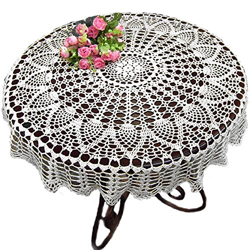 KEPSWET Cotton 36 inch Round Sunflower White Handmade Crochet Lace Tablecloth - Crochet Pattern Sunflower