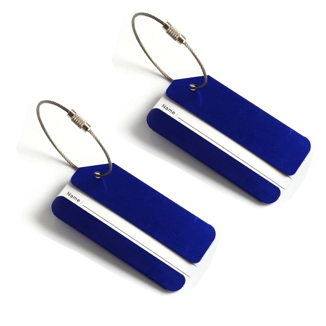 Alohha Lot de 2 /étiquettes didentification de bagage en aluminium avec cha/îne /à vis Orange001
