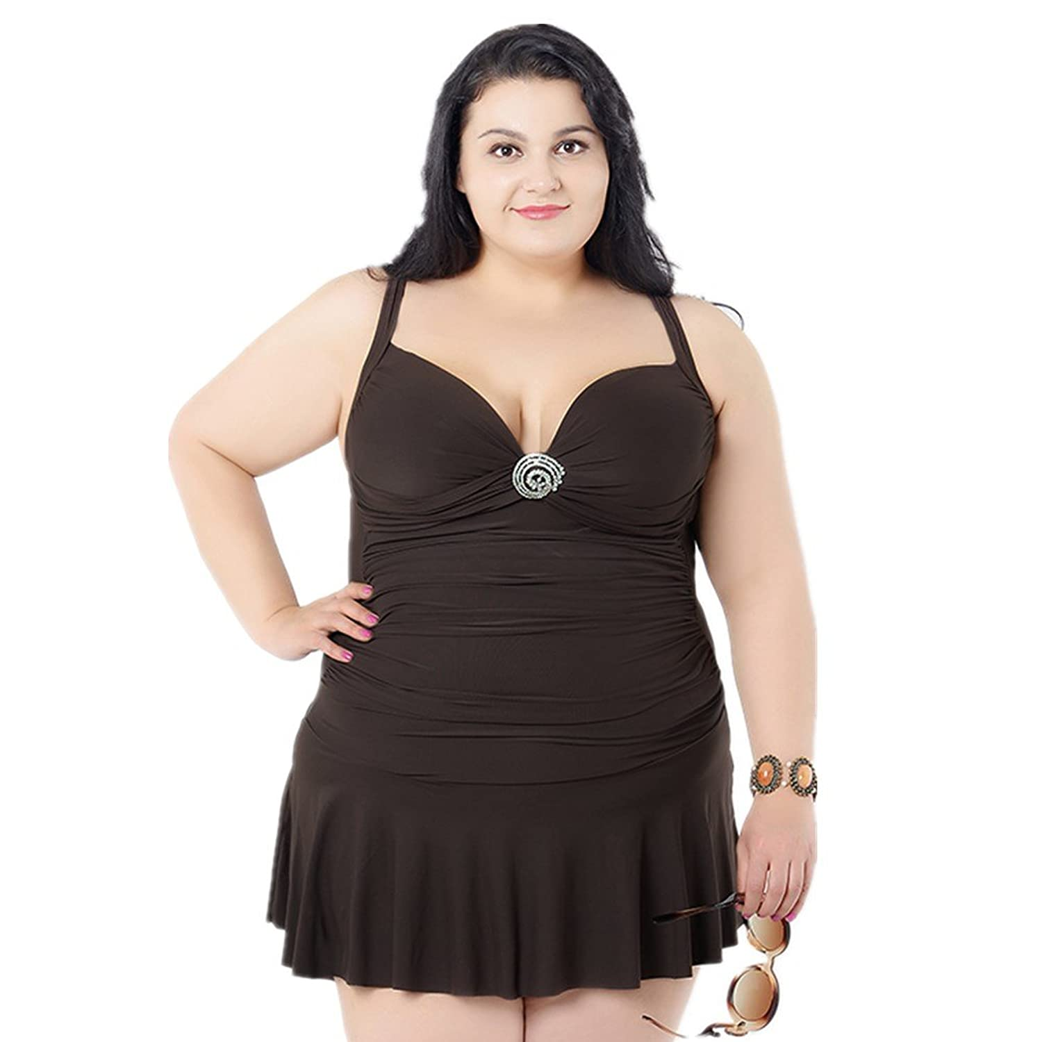 Women's Plus Size Solid Crossover One Piece Swimdress Swimsuit