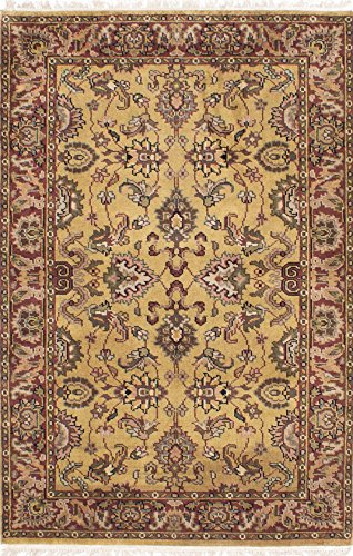 Agra Gold Area Rugs - Ecarpetgallery Hand-knotted Finest Agra Jaipur Open Field 4' x 5' Orange 100% Wool area rug