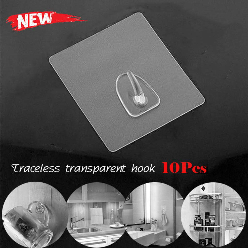 10 Pack Wall Hooks Anti-skid Seamless Adhesive Hooks Reusable Transparent Traceless Wall Hanging Hooks by Staron (10pcs Clear)