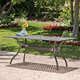 Christopher Knight Home 300672 Augusta Outdoor Cast Aluminum Dining Table | Perfect for Patio | in Shiny Copp, Copper