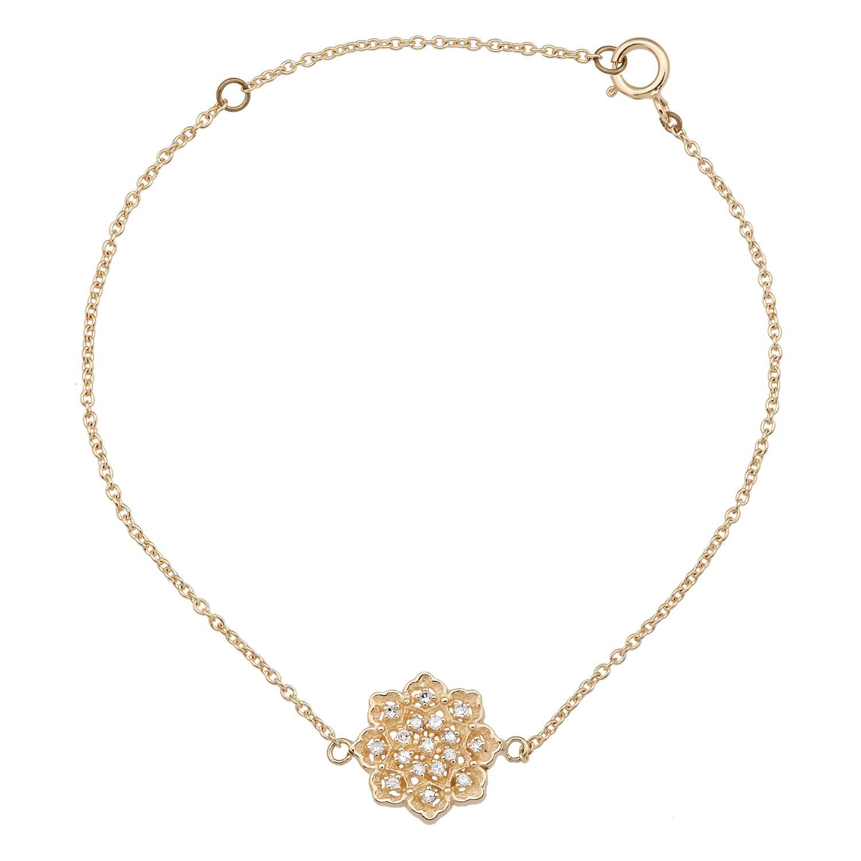10k Yellow Gold Floral Style Diamond Pendant Bracelet by Instagems