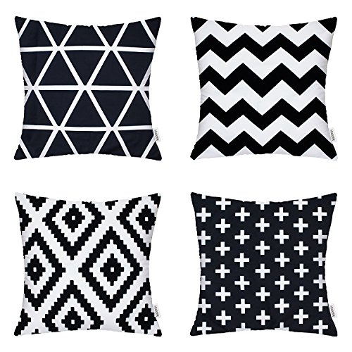 4 Packs Hippih Comfortable New Living Decorative Throw Pillow Case 18×18 Inch Pillowcases for Home Sofa ,1x Plus + 1x Geometry + 1x triangle + 1x Zig Zag Chevron (Art Com Feather Print)