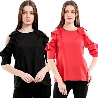 Girls Shopping Pack Of 2 Crepe Cold Shoulder Ruffled Sleeves Tops For
