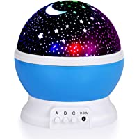 TECHVIDA Kids Star Night Light, 360-Degree Romantic Rotating Star Moon Sky Projector Night Projector Light Lamp Colors…