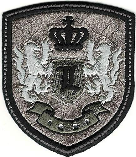 (Silver Black Rampant Lion Crown Coat of Arms Crest Letter L Embroidery Patch)