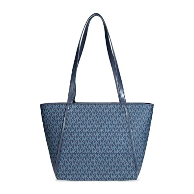 a5a66b2a5410 Amazon.com: Michael Kors Whitney Small Signature Logo Print Tote- Blue/Multi:  Shoes