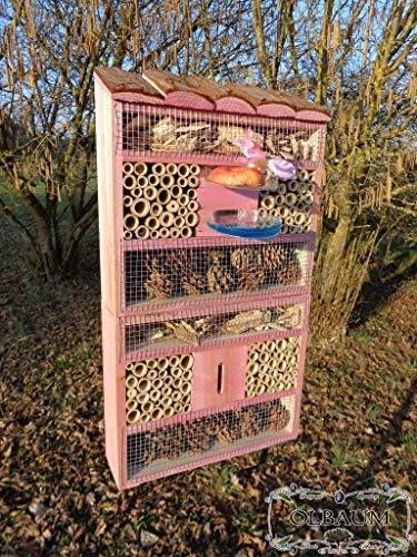 BTV XXL Insektenhotel groß, mit/ohne Ständer, hohe Form, Insektenhaus als funktionale Gartendeko mit Futterstation und Holzrinde-Naturdach robust