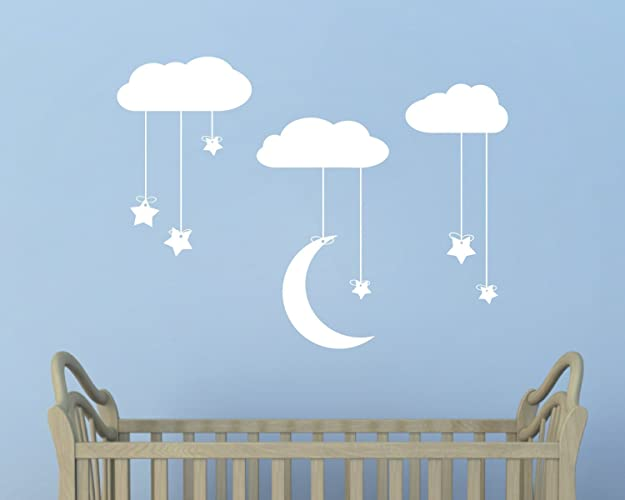 Hanging Stars and Moon from Clouds Wall Art - Stars Moon and Clouds ...