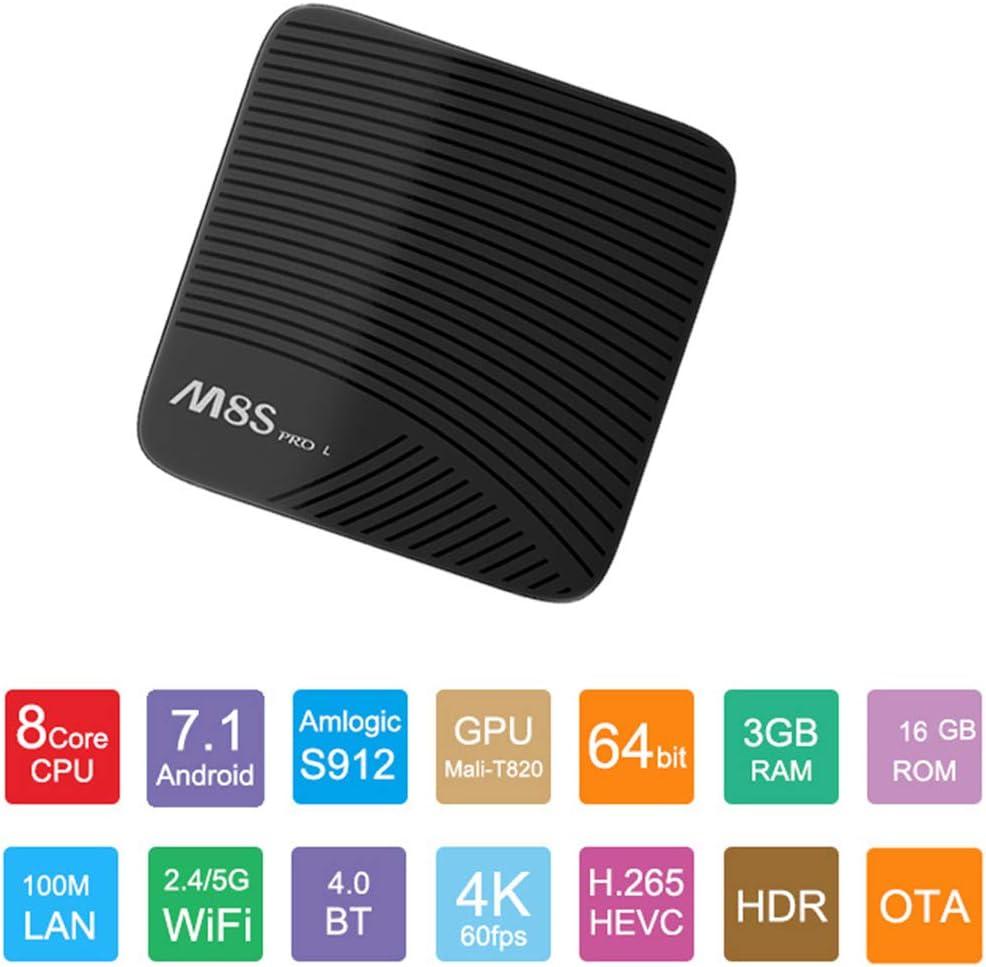 M8S Pro L Android 7.1.2 TV Box con Bluetooth Remoto Ultra 4K HD Smart TV Box 3GB RAM 16GB ROM Bluetooth 4,1 Amlogic S912 Octa Core 64 bits y Soporte de Doble