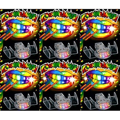 NEW 24 PACK Flashing Mouth Piece Guard Light Up Teeth LED Party Favors Mouthpieces]()