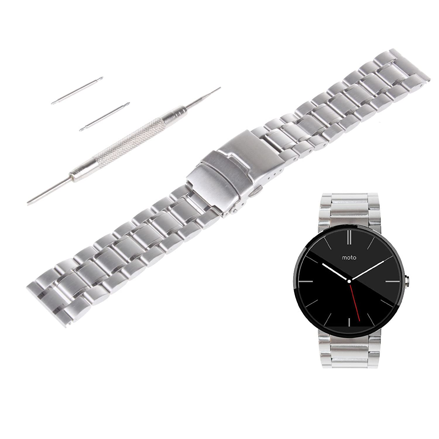 VIMVIP 22mm Stainless Steel Watch Band Strap with Spring Bars Tool for Motorola Moto 360 II 2 Generation Smart Watch 2015 Mens 46mm