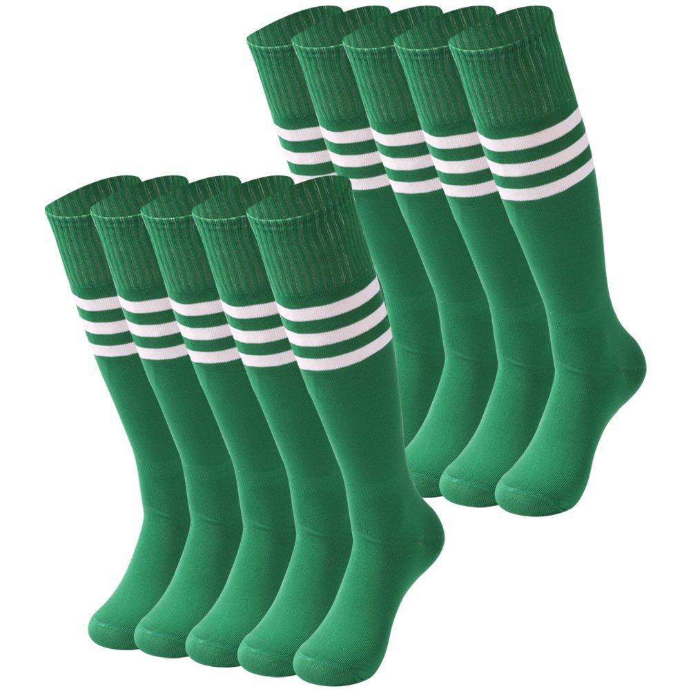 saounisi Unisex Baseball Socks,10 Pairs Football Stockings Knee High Socks White Stripe Patterned Soccer Sports Team Socks Size 9-13 Green by saounisi