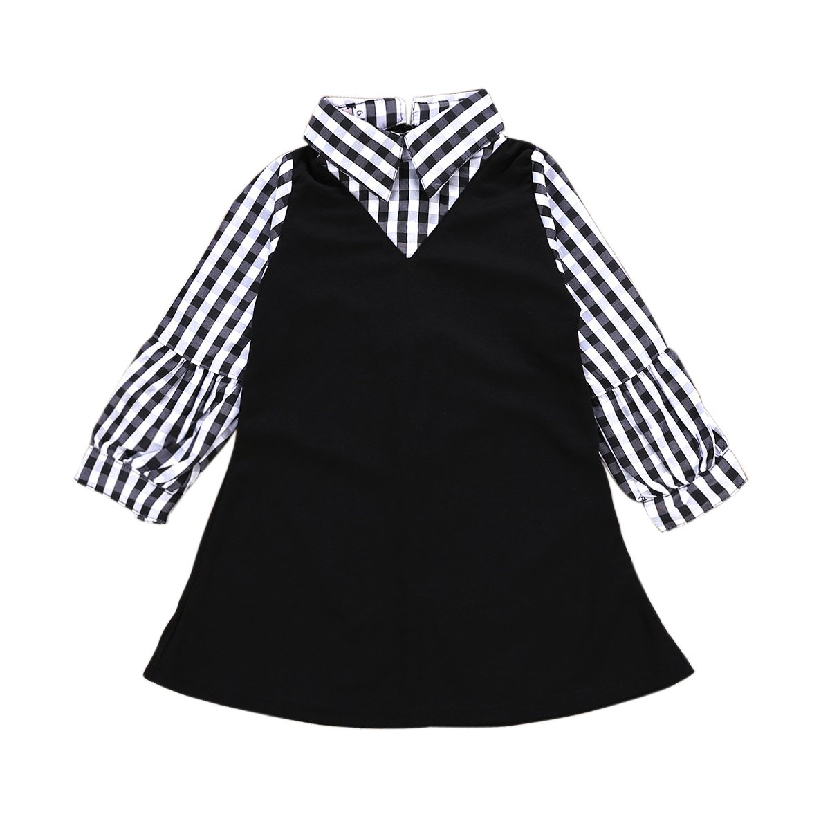 XiaoReddou Baby Kids Girls Plaid Long Sleeve Lapel Collar Dress Autumn Playwear Party Dress …
