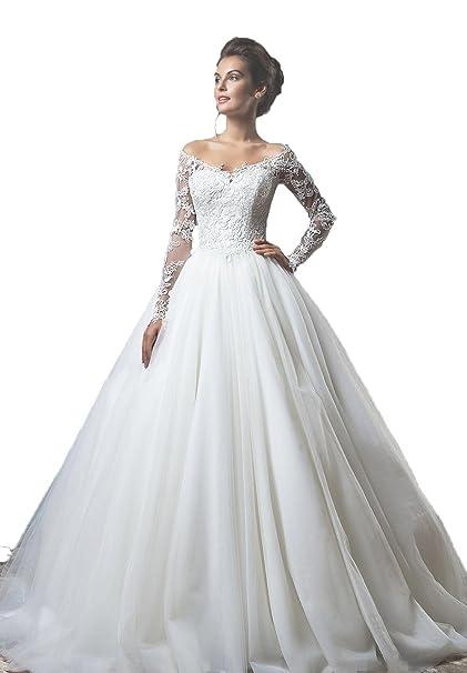 Engerla mujer slace y tul Bateau Off hombro Sheer manga larga vestidos de novia corte tren vestido de novia: Amazon.es: Ropa y accesorios