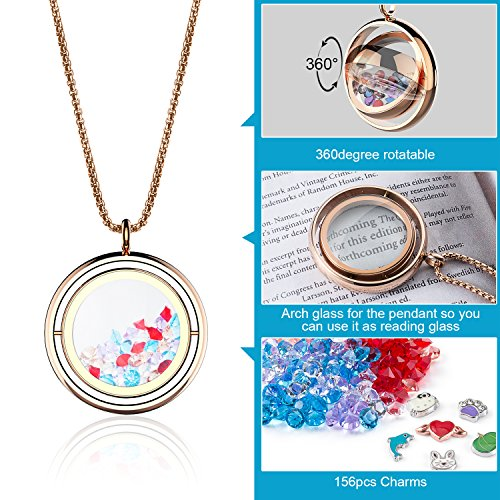 Pendant Glass Dolphin (Floating Charms Locket Necklace 360 Rotatable Living Memory Locket Pendant Gift For Girls Women with 150pcs Birthstonds and 6pcs Charms (Rose Gold))