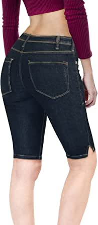 Hybrid & Company Women's 11.5 inch Inseam Stretchy Denim Bermuda Short