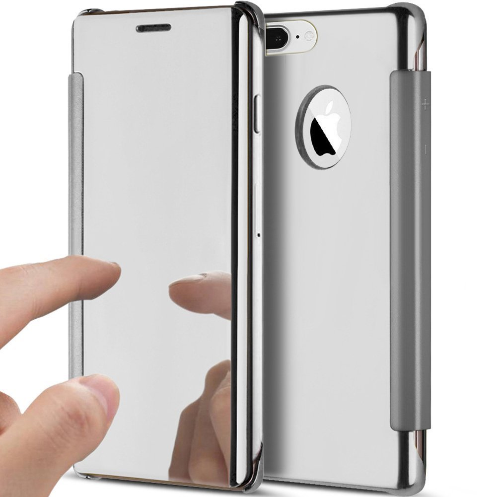 Felfy iPhone 5S Mirror Case,Glitter Case for iPhone 5, iPhone SE Silver Folio Luxury Mirror Plating Clear View Flip Leather Cover Bookstyle Ultra Slim Fit Crystal Smooth Grip Durable Protection Cell Phone Cases and Covers for Apple iPhone SE/5/SE +1 Silver