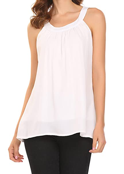 b41b84e422 BLUETIME Women's Casual Summer Chiffon Layered Blouses Sleeveless Flowy Tank  Tops Shirts White S