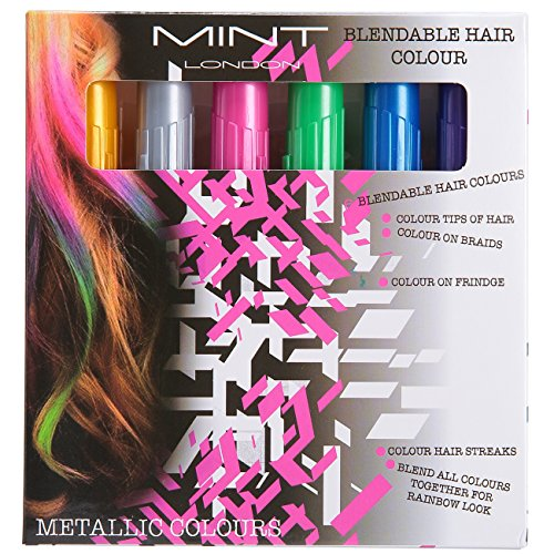 Hair Chalk - Metallic Glitter Temporary Hair Color - Edge Chalkers - No Mess - Built in Sealant - Works on All Hair Colors - Color Essentials Set (6 Count) By SySrion (Dye Glitter)