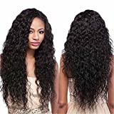 Echo Beauty Top 8A Peruvian Virgin Human Hair Lace Front Wigs for Black Women Curly Wave Handmade Human Hair Wigs Natural Color Medium Cap 18''