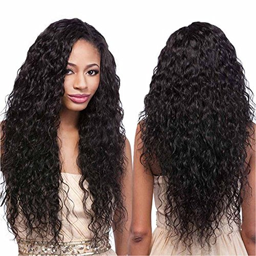 Echo Beauty Top 8A Peruvian Virgin Human Hair Lace Front Wigs for Black Women Curly Wave Handmade Human Hair Wigs Natural Color Medium Cap 18'' by Echo
