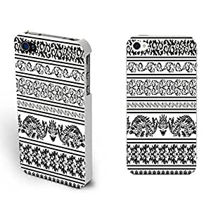 Design Phone Cases - Vintage Flowers Print Iphone 4 Case Pretty Girls Iphone 4s Floral Designer Hard Plastic Case Cover Skin (combo black white flower BY508) BY icecream design